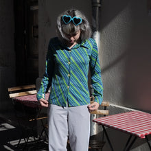 Load image into Gallery viewer, 70s Green/Blue Striped Shirt