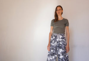 90's Vintage Unisex Wide Leg Flared Camo Trousers