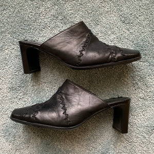 "90s ""Clarks"" Black Leather Mules"