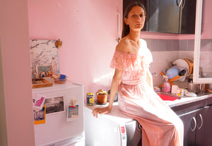 Vintage 70's Maxi Slip Dress in Baby Pink