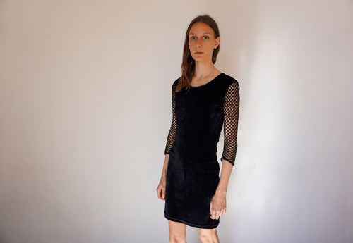 Vintage Grunge Dress in Black Velvet