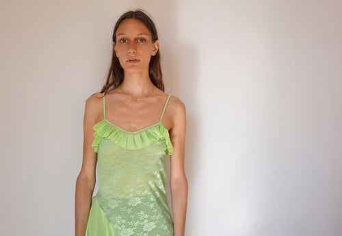 Vintage Neon Green Slip Dress