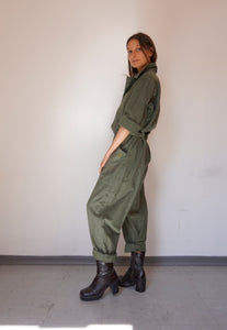 Vintage Unisex Flight Coverall / Jumpsuit in Khaki Cotton Sateen