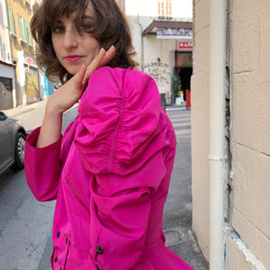 Vintage puffy sleeve blouse in hot pink