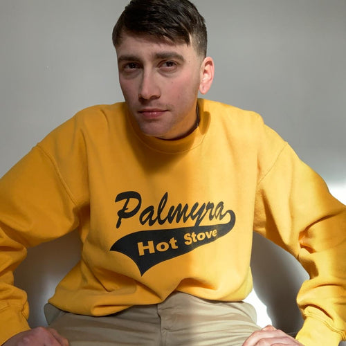 "Vintage 80s ""Palmyra Hot Stove"" yellow college sweater"