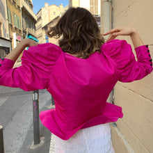 Load image into Gallery viewer, Vintage puffy sleeve blouse in hot pink