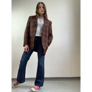 70s Brown/Red Checkered Blazer