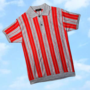 Vintage 60s Red/Grey Striped Polo