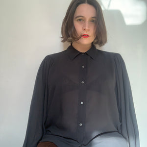 Vintage Balloon Sleeve Sheer Shirt