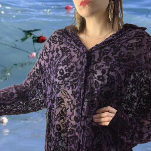 Vintage 90s Purple Velvet Blouse