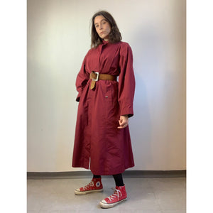 Vintage 80s Raspberry Red Trench Coat