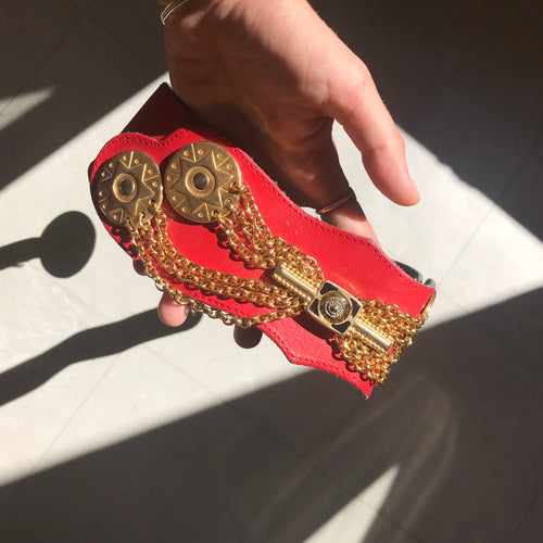 Vintage waisted red leather belt with embellishment