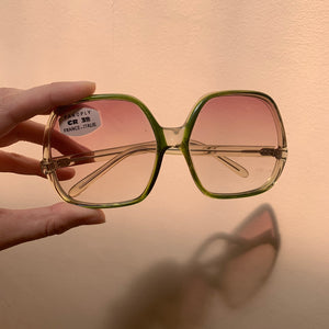 70s Oversized Green/Clear Sunglasses