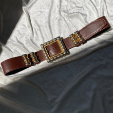 Load image into Gallery viewer, Vintage Brown Leather Belt with Gold Buckle