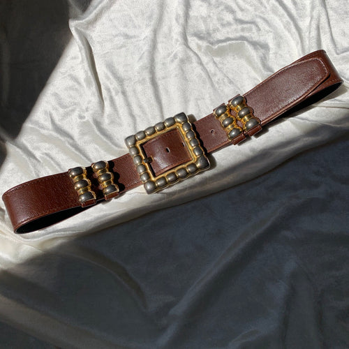 Vintage Brown Leather Belt with Gold Buckle