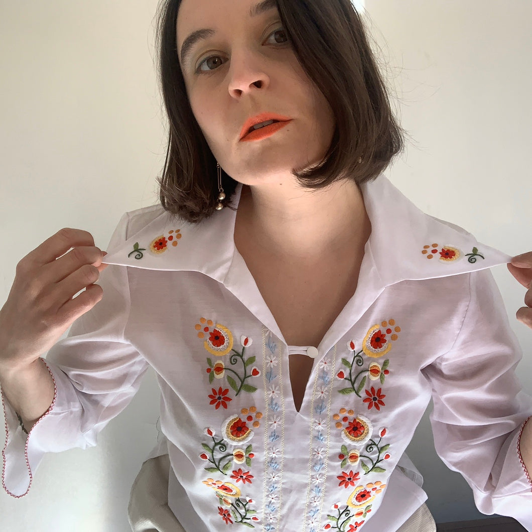 Vintage Floral Embroidered Smock