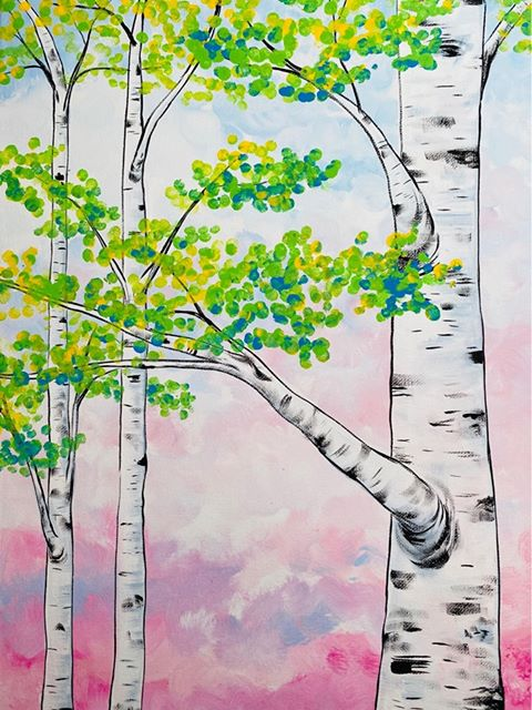 Spring Birch Trees Box