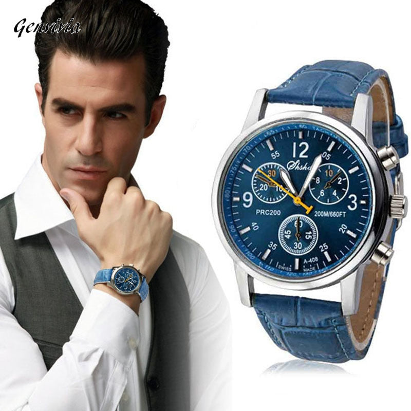 Faux Analog Blue Leather Men's Watch
