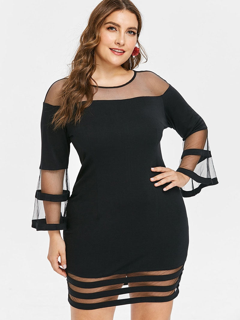 Mesh Flare Party Dress