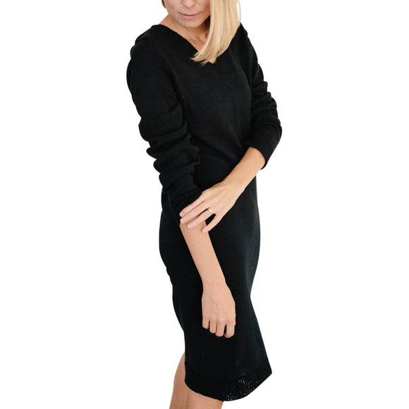 The Vee Sweater Dress - Black