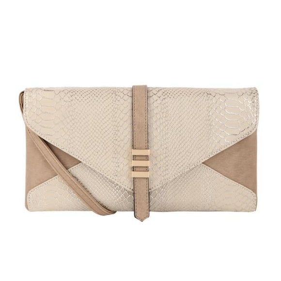 Inez Snakeskin Vegan Leather Clutch