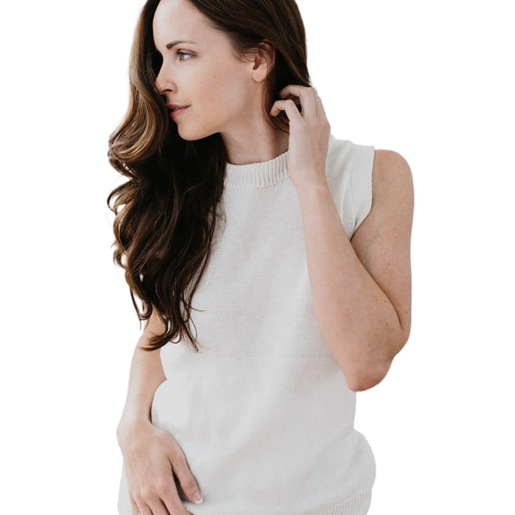 The Sleeveless Sweater - White