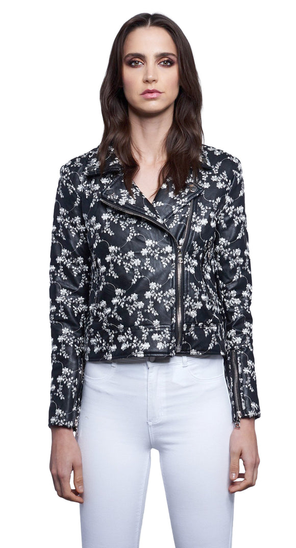 White Floral Embroidered Biker Jacket