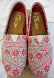 Toms - Classics Red Oatmeal Snowflake Flats (New with tag & box)
