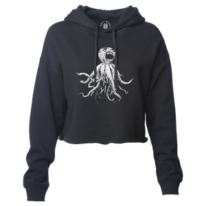 Classic Octopus Cropped Hoodie - Black
