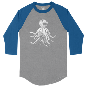 Classic Octopus Raglan - Heather Grey / Royal Blue