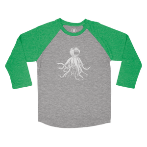 CLASSIC OCTOPUS RAGLAN - HEATHER GREEN/GREY