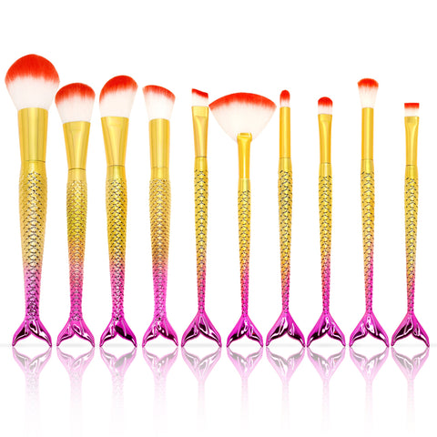 Pink Mermaid Tail Brush Set