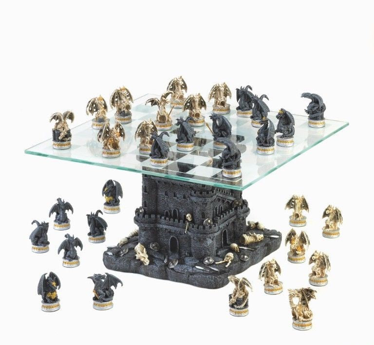 Gothic Tower Dragon Chess Set