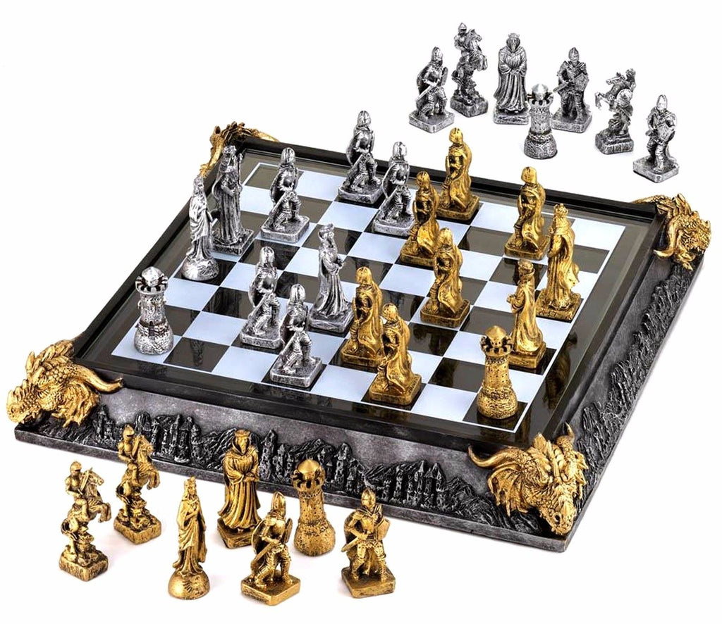 Mystical Knights & Dragons Medieval Chess set