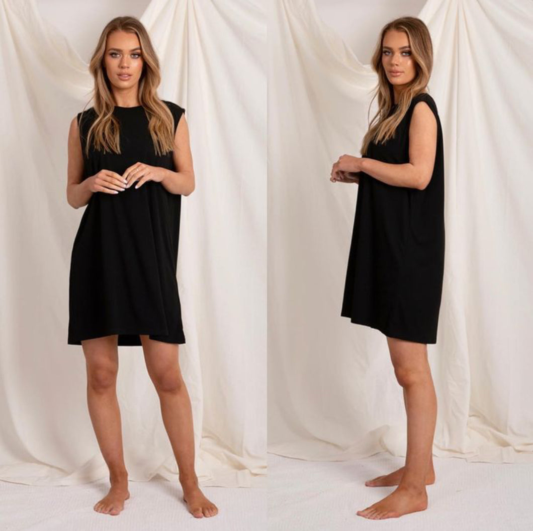 Love Lily The Label Logan Cotton Tank Dress BLACK
