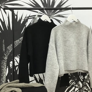 Sunny Girl Crop Knit Jumper BLACK