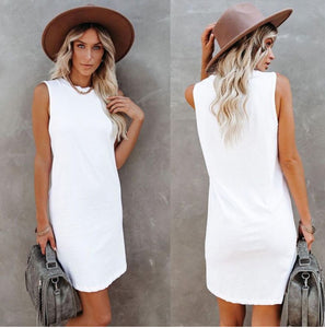 Love Lily The Label Logan Cotton Tank Dress WHITE