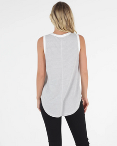 Keira Tank WHITE/BLACK STRIPE