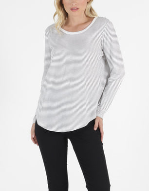 Betty Basics Megan Long Sleeve Top WHITE/BLACK STRIPE