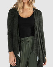 Load image into Gallery viewer, Betty Basics Tunic Melbourne Cardigan OLIVE BLACK TERRAIN