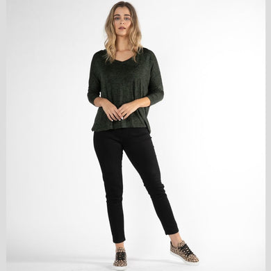 Betty Basics Bilbao Top OLIVE BLACK TERRAIN