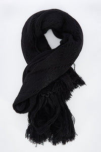 Betty Basics Lunar Cable Knit Scarf BLACK
