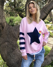 Load image into Gallery viewer, Hammill + Co Raw Edge Sweat Navy Star PINK