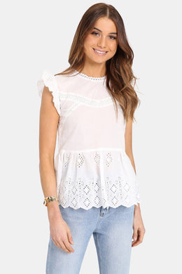Madison the Label Lucinda Lace Top WHITE