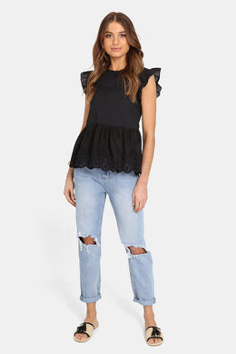 Madison the Label Lucinda Lace Top BLACK