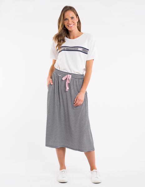 Elm Le Stripe Skirt NAVY/WHITE