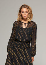 Load image into Gallery viewer, Gysette Rani Lurex Blouse BLACK/GOLD
