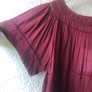 Bohemian Lace Trim Blouse PLUM  BT-SS18-H05