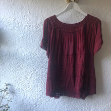 Load image into Gallery viewer, Bohemian Lace Trim Blouse PLUM  BT-SS18-H05