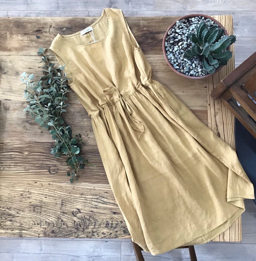 Worthier Linen Dress MUSTARD